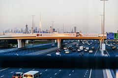 Dubai (Victoriano) Tags: road city sunset cars highway eau dubai uae transportation commute megacity
