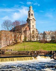 The Slater Mill Historical Site, Pawtucket, RI (Southern New England Photography) Tags: church water canon buildings river stream factory unitedstates newengland historic rhodeisland waterfalls northamerica blackstoneriver pawtucket sigmalens eos70d sigma1750mmf28dcoshsm