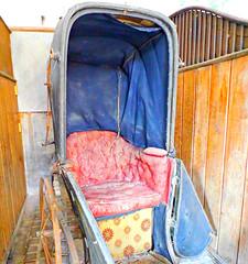 Bath Chair! ('cosmicgirl1960' NEW CANON CAMERA) Tags: wood old blue red bath antique wheelchair wheels devon cushion decaying pram seenbetterdays yabbadabbadoo saltram