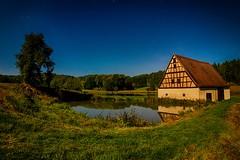 Full Moon Silver Mill (M-Z-Photo) Tags: sachsenbeiansbach bayern deutschland de langzeitbelichtung landschaft nachtaufnahme mhle weiher baum reflxionen sterne himmel