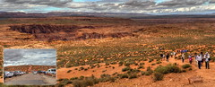 Trail to Horseshoe Bend (Chief Bwana) Tags: az arizona coloradoriver horseshoebend glencanyon glencanyonrecreationarea overlook trail hikers psa104 chiefbwana panorama