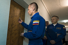 Expedition 49 Preflight (NHQ201610190001) (NASA HQ PHOTO) Tags: baikonur expedition49 kazakhstan doorsigning sergeyryzhikov russianfederalspaceagencyroscosmos cosmonauthotel expedition49preflight baikonurcosmodrome kaz nasa joelkowsky