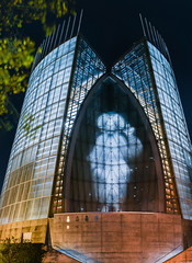 he's watching you (pbo31) Tags: california bayarea eastbay alamedacounty black dark night color nikon d810 november 2016 fall boury pbo31 oakland blue cathedraloflight architecture contemporary orange downtown religion church god panoramic large stitched panorama ghost scary jesus