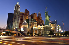 New York in the middle of the desert (clasch) Tags: newyork lasvegas nevada usa united states america cityscape light trails urban architecture nikkor d7000 1224 blue hour dusk liberty statue strip hotel casino traffic nikon street road