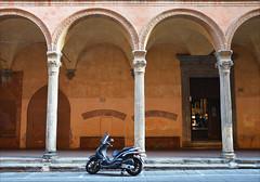 Via Zamboni (angelsgermain) Tags: via street arches columns archway church scooter sidewalk light basilicadesangiacomomaggiore viazamboni bologna emiliaromagna italia italy