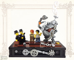 Inventors and Investors (burningblocks) Tags: steampunk robot lego moc victorian vignette mech steam gears