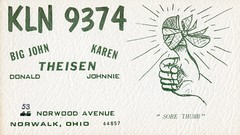 Sore Thumb - Norwalk, Ohio (73sand88s by Cardboard America) Tags: ohio vintage qsl qslcard cbradio cb thumb
