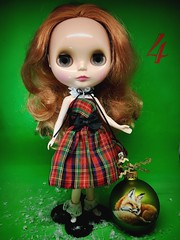 "Flickr Advent #4 Blin. #4 Bling Bling in Plaid ""Elf on the Shelf"" outfit. Lace collar and bauble: Painterslife."