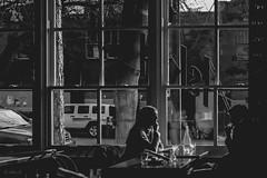 Restaurant - Film Contax (Photo Alan) Tags: blackwhite blackandwhite street streetphotography streetpeople people windows window restaurant film filmcamera filmstreet contaxg1 carlzeiss carlzeissbiogon45mmf20 kodak 400 kodak400 35mmfilm oldcamera oldlens vancouver canada