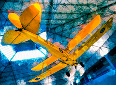 The De Havilland Tiger Moth Mk.II (Steve Taylor (Photography)) Tags: dehavilland dh82a tigermoth mkii struts nz825 wigram airforce museum art digital architecture ceiling blue green white yellow orange newzealand nz southisland canterbury christchurch texture plane aeroplane aircraft training