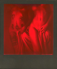 The Double intimacy (carlostella) Tags: impossibleproject impossibleprojecti1 polaroid polaroid600 i1cam i1 polaroidisnotdead impossiblehq blackwhite blackred roundframe nude model girl
