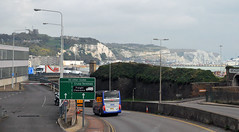 Heading into Dover Port UK (Vee living life to the full) Tags: leger travel touring holiday nikond300 dover border control castle cars port coach signpost direction kent england uk