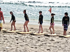 The surf school on Kuta beach . (Franc Le Blanc .) Tags: panasonic lumix indonesia bali kuta pantai beach surfschool lessons