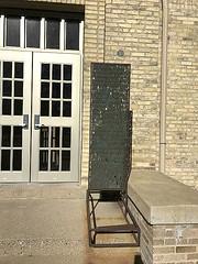 Plinth (notredamepublicart) Tags: houstondavidlobdell indiana plinth publicart rileyhall lettes metal outdoors sculpture text