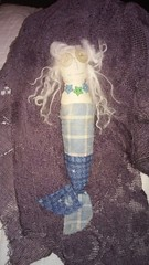 Anafae a Small Mermaid (Daffodil Moon) Tags: mermaid cotton vintage shellbuttons blue primitive cloth doll