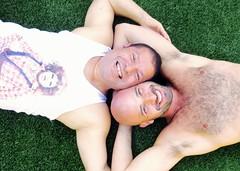 IMG_0126 (danimaniacs) Tags: party shirtless man guy smile hot sexy beard scruff hairy bald armpit tanktop hunk