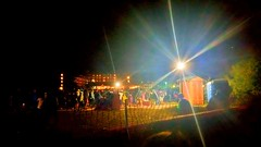 Out of the Dark (joe Lach) Tags: outofthedark lights spotlights people gathering beach laketahoe southlaketahoe fireworks joelach