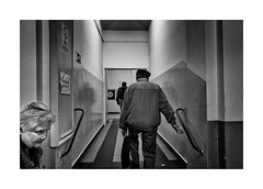 To the hospital (Jan Dobrovsky) Tags: bw contrast dark document grain indoor leicaq people prague street