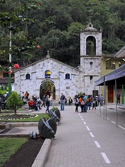 Aguas Calientes Church (oxfordblues84) Tags: machupicchu oat overseasadventuretravel peru cusco cuscoprovence aguascalientes plazamancocapac machupicchupueblo aguascalienteschurch church religiousbuilding churchtower churchfacade facade trees tourists travelers people plaza colonialchurch town 5photosaday