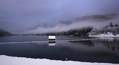 Cleveland Dam (Romain Collet) Tags: capilano cleveland dam canada vancouver north shore bc british columbia water snow mountain sky cloud fog nikon foggy clouds cabin winter d7100 wide angle panorama landscape weather views reflection exposure