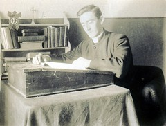 At Study. (mcginley2012) Tags: old ireland portrait history blackwhite desk study crucifix oldphotograph maynooth seminarian vintagephotograph cokildare stpatricksseminary trgriffith