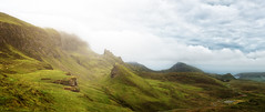 Quiraing (Philipp Klinger Photography) Tags: ocean road uk greatbritain blue light shadow sea sky panorama cloud mist mountain mountains skye green nature grass rock misty fog clouds landscape island scotland seaside nikon rocks isleofskye angle unitedkingdom britain pano united hill