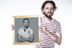 Man in the Mirror (Matthew Clinch) Tags: portrait selfportrait man self hair beard mirror flash double stripey strobe selfie stobist offflash