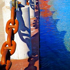 """Shadows at the Dock (scilit) Tags: lake abstract water lines square dock rust shadows shapes vivid chain reflexions waterscape vividimagination artdigital """"exoticimage"""" netartii"""
