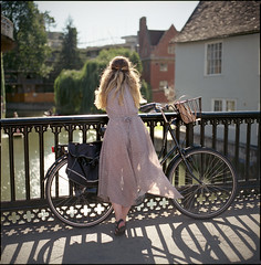 River Cam Girl (steve-jack) Tags: street bridge cambridge girl bicycle bells river hair basket dress cam hasselblad 100 sunlit punt 80mm ektar 501cm g64g54r2win stephenjackson2portfolio