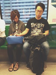 Asleep in Love (cpw123) Tags: sleeping green holding hands singapore couple 5 line mrt iphone originalfilter vscocam uploaded:by=flickrmobile flickriosapp:filter=original cpwebbcom