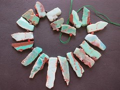21 Chrysoprase 1 (CGPGemBeads) Tags: brown green rock stone beads natural slice stick rough pendant slab mintgreen freeform chrysoprase topdrilled stickpoint