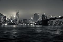East River (grapfapan) Tags: nyc newyorkcity mist water fog night clouds skyscraper blackwhite darkness manhattan brooklynbridge monochrom