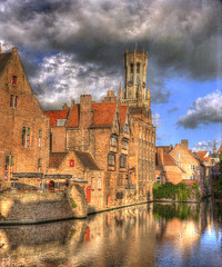 Belgium, Bruges, Reflections of medieval buildings in River Dijver (Cat Girl 007) Tags: old clouds manipulated reflections photography canal europe belgium medieval historic bruges picturesque flanders benelux famousplace buildingexterior traveldestination verticalcomposition texturebyskeletalmess riverdijver texturebylenabemanna