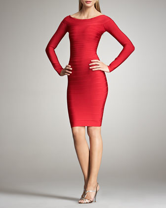 Red Herve Leger Long Sleeves Bandage Dresses Cheap
