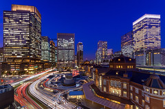 Tokyo Station, West in Twilight (45tmr) Tags: city longexposure nightphotography japan night landscape tokyo evening twilight cityscape nightscape nightshot pentax dusk 東京 lighttrails nightview 夜景 tokyostation k5 marunouchi 東京駅 丸の内 光跡 摩天楼 薄暮 pentaxk5