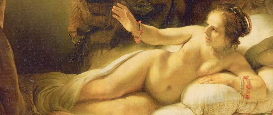 «Даная» Рембрандта, фрагмент