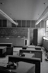 the.anatomy.lesson (jonathancastellino) Tags: leica school ontario abandoned film window analog 35mm classroom desk decay ominous room board brain science diagram anatomy analogue chalkboard biology derelict desks binder binders