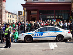 NYPD Police Patrol Car, 2012 Brooklyn St. Patrick's Day Parade, New York City (jag9889) Tags: county city nyc blue ireland irish usa holiday ny newyork green heritage car brooklyn feast america religious restaurant pub automobile cops faith culture prospectpark parkslope police nypd patriotic historic parade celebration event kings national transportation vehicle borough tradition mass stpatrick shamrocks lawenforcement finest 2012 farrells stpaddysday officers irishamerican stpatricksdayparade stpaddy saintpatrick kingscounty firstresponders 17march newyorkcitypolicedepartment p072 jag9889 y2012