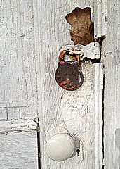 security? (rdedks2011) Tags: door wood white leaf rust lock hdr