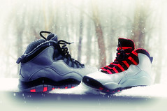 A Sneakerheads Winter Wonderland (Robin622) Tags: winter snow bokeh sneakers jordan 10s wonderland airjordan sneakerhead jordan10 vision:outdoor=0645 vision:car=0768