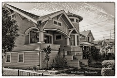 Historic homes_010 (Walt Barnes) Tags: street old city urban blackandwhite bw house building home architecture canon vintage eos blackwhite queenanne victorian streetscene structure calif historic restored petaluma residence hdr topaz dwelling streetshoot 60d canoneos60d topazadjust eos60d wdbones99