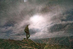 Multiple Exposure on Dartmoor (imogencallaway) Tags: sky film grass silhouette clouds 35mm person lomo lca lomography exposure double multipleexposure devon multiple moors dartmoor doubles