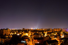 Bucharest Panorama (Adrian Chiru) Tags: city light sky panorama skyline night lights romania bucharest 18105 polution d90
