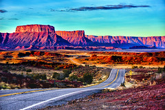 HERE COMES THE DAWN (Aspenbreeze) Tags: road southwest west rural sunrise dawn utah country redrocks moab rockformations newday westernusa moahutah aspenbreeze moonandbackphotography bevzuerlein