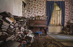 Why read books when songs can tell whole stories in 4 minutes (marco18678) Tags: nikon d750 tamron 1530 books pile organ piano music old abandoned decay decayed lost europe world france forgotten ue urbex urban exploring urbanexploring beautiful photography naturallight natural light hidden window carpet chair story read songs
