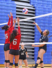 IMG_3052 (SJH Foto) Tags: girls volleyball high school mount olive mt team tween teen teenager varsity net battle spike block action shot jump midair