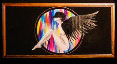 Give Me Wings to Fly (Steve Taylor (Photography)) Tags: vexta bird art graffiti painting picture mural streetart wall black brown rainbow newzealand lady woman nz southisland canterbury christchurch city rectangle circle round festival spectrum ymca hybrid