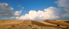 ochra colored hills (be there...) Tags: landscape fields brown beige sky clouds stripes streifen felder hgel wolken herbst autumn hills sicily sizilien sicilia
