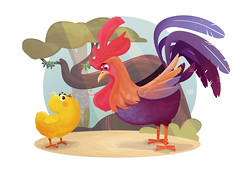 Rooster The New Year (2017) (Works by Issao Bazolli) Tags: galo pintinho rooster digital digitalcolour color illustration ilustrao animals