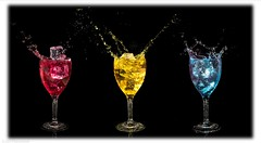 Well, it passed a couple of hours... (Anthony Plancherel) Tags: art dropssplashes canon1585mm canon70d canon drops splashes splash water liquid wineglass composite colouredwater icecubes explosion blackbackground border photoborder passingtime wow brilliant